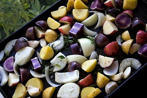 Potatoes and garlic for roasting