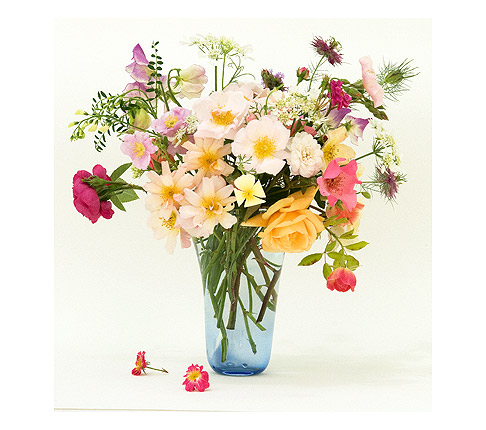 Roses-and-flowers-in-blue-vase