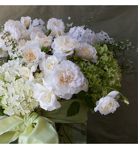Wedding Centerpiece of Roses and Hydrangeas - Rose Notes