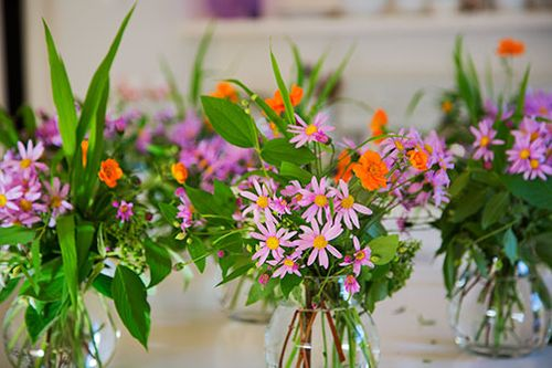 Bouquets-on-kitchen-counter